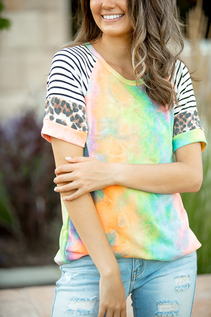 Bold and Beautiful Mixed Neon Coral Tie Dye Top