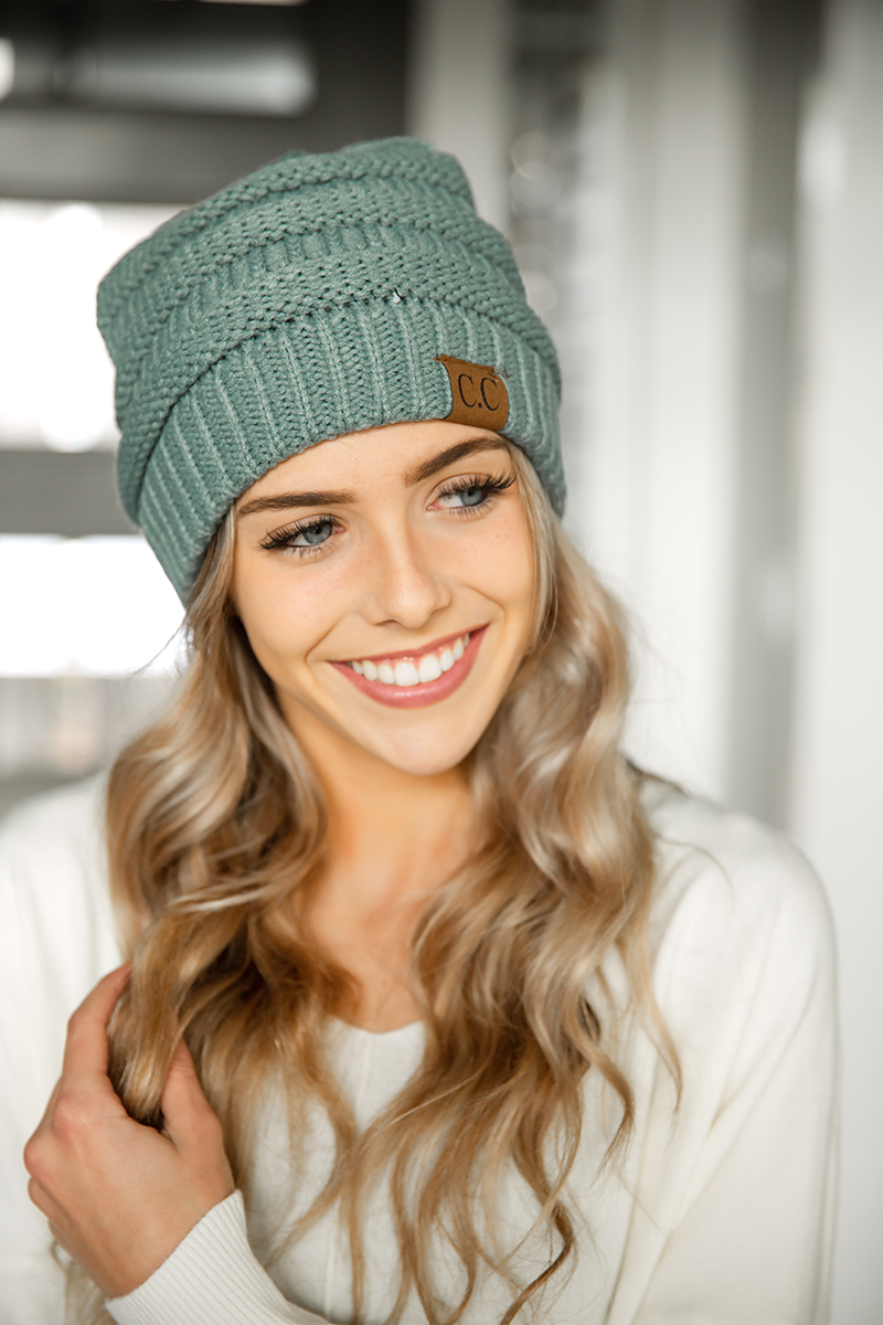 CC Knit Beanie in Teal