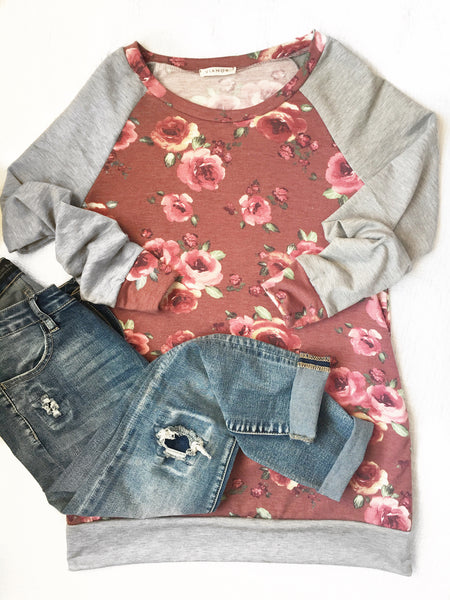 One Fabulous Day Long Sleeve Floral Baseball Top (SALE)
