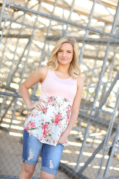 Never A Dull Moment Floral Tank in Blush