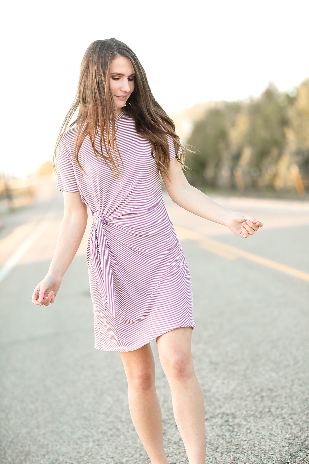 Waiting For You Mauve Striped Dress (SALE)