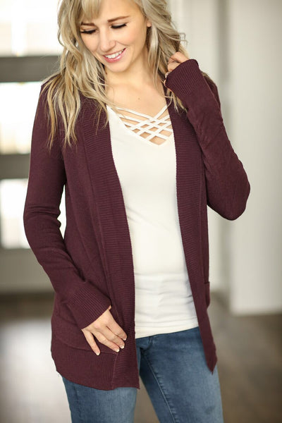Everyday Cardigan in Plum