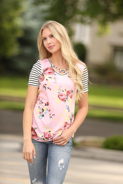 The Perfect Contrast Tee in Pink With Criss Cross Detail