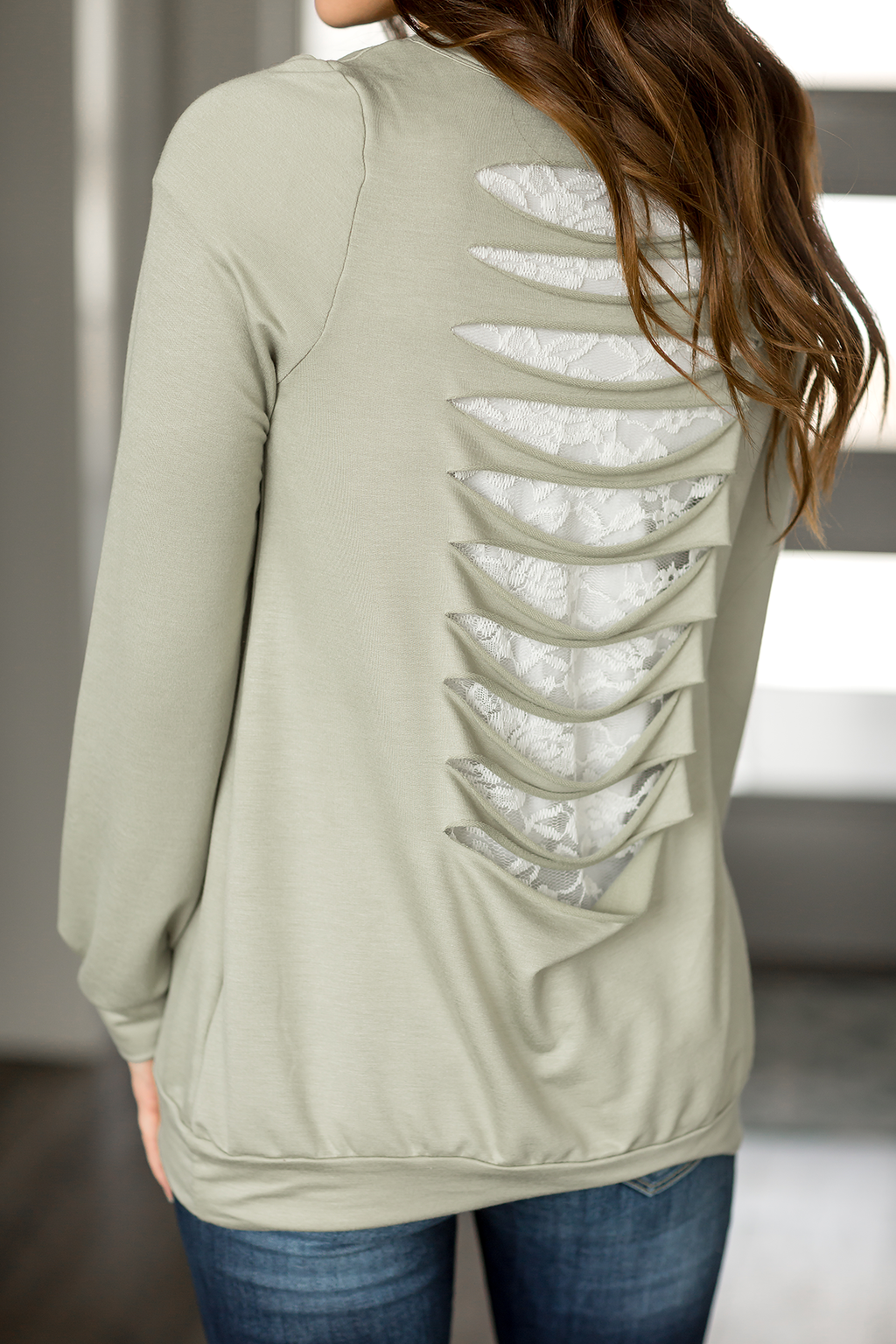 It's In The Details Lace Cut Out Top in Sage