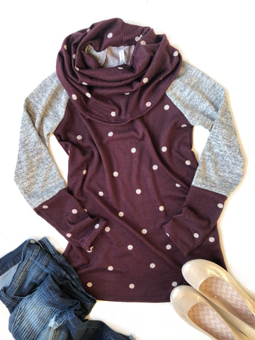 Count Me In Polka Dot Cowl Neck Top