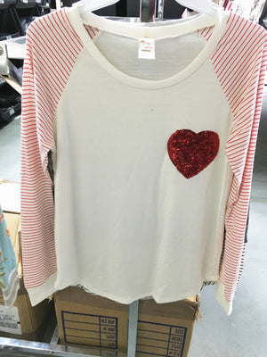 Sweetheart Red and White Striped Top with Heart Pocket