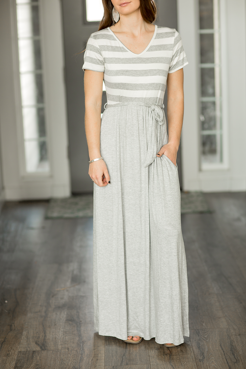 Picture Perfect Striped Maxi Dress in Gray