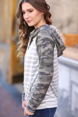 Little Things Striped Camo Hoodie