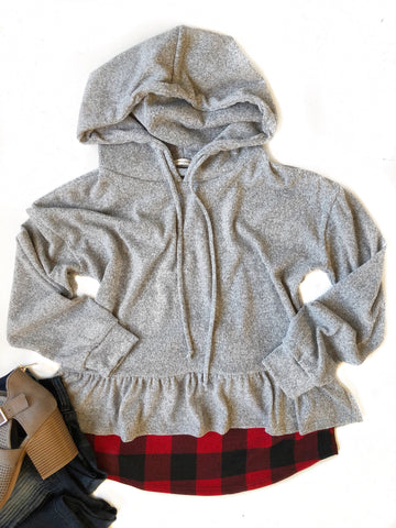 Kind Of A Big Deal Ruffle Hoodie with Plaid
