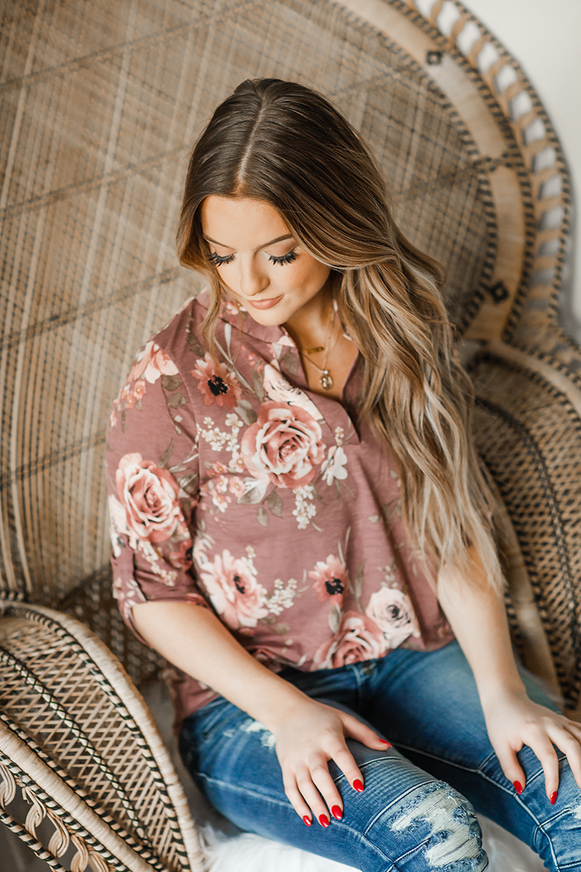 Long Way Home Floral Top in Mauve