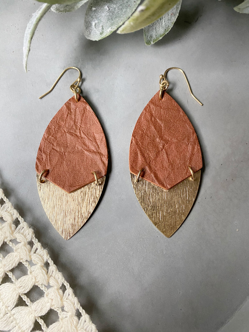 Elise Earrings in Brown and Gold