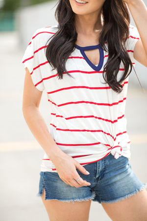 Summer BBQ Top in Red White and Blue