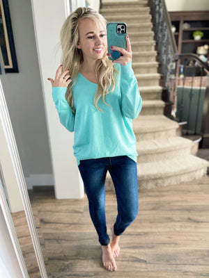 Stay with Me Pullover Sweater in Mint