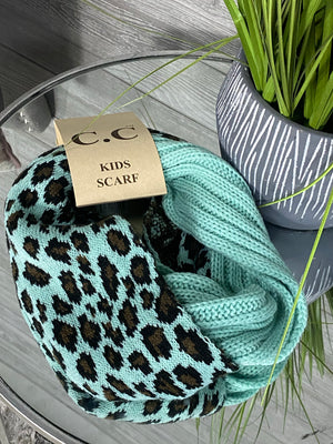 Merry Merry KIDS CC Infinity Scarf in Teal Animal Print