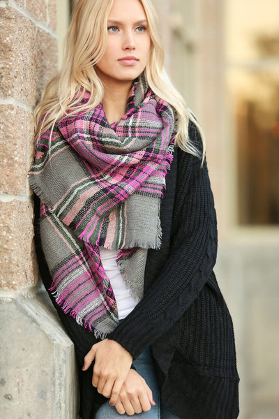 Plaid Blanket Scarf- Pink and Gray