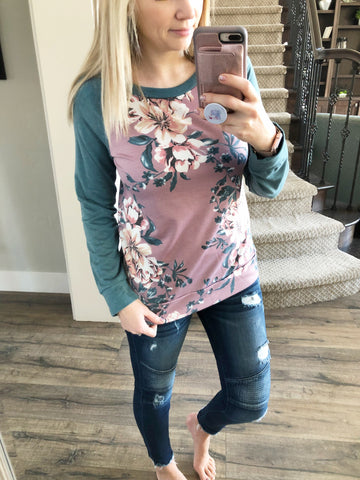 High Stakes Floral French Terry Top in Teal and Mauve