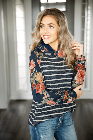 Free Falling Navy Floral and Charcoal Striped Hoodie