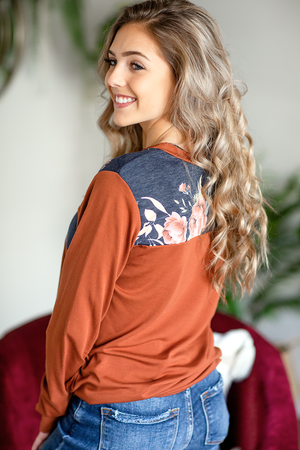 I Wish You Were Mine Floral Top in Rust