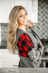 Learn to Love Again Waffle Knit Top with Animal Print and Buffalo Plaid