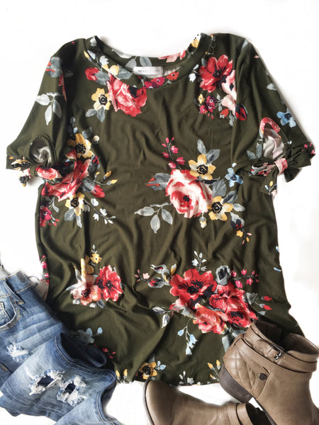 Fancy That Floral Top in Olive