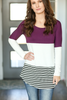 Always Motivated Color Block Tee with Stripes in Plum