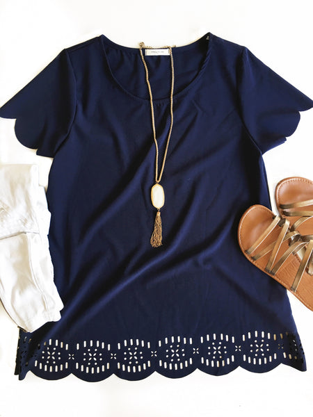 Reminds Me Scalloped Top in Navy