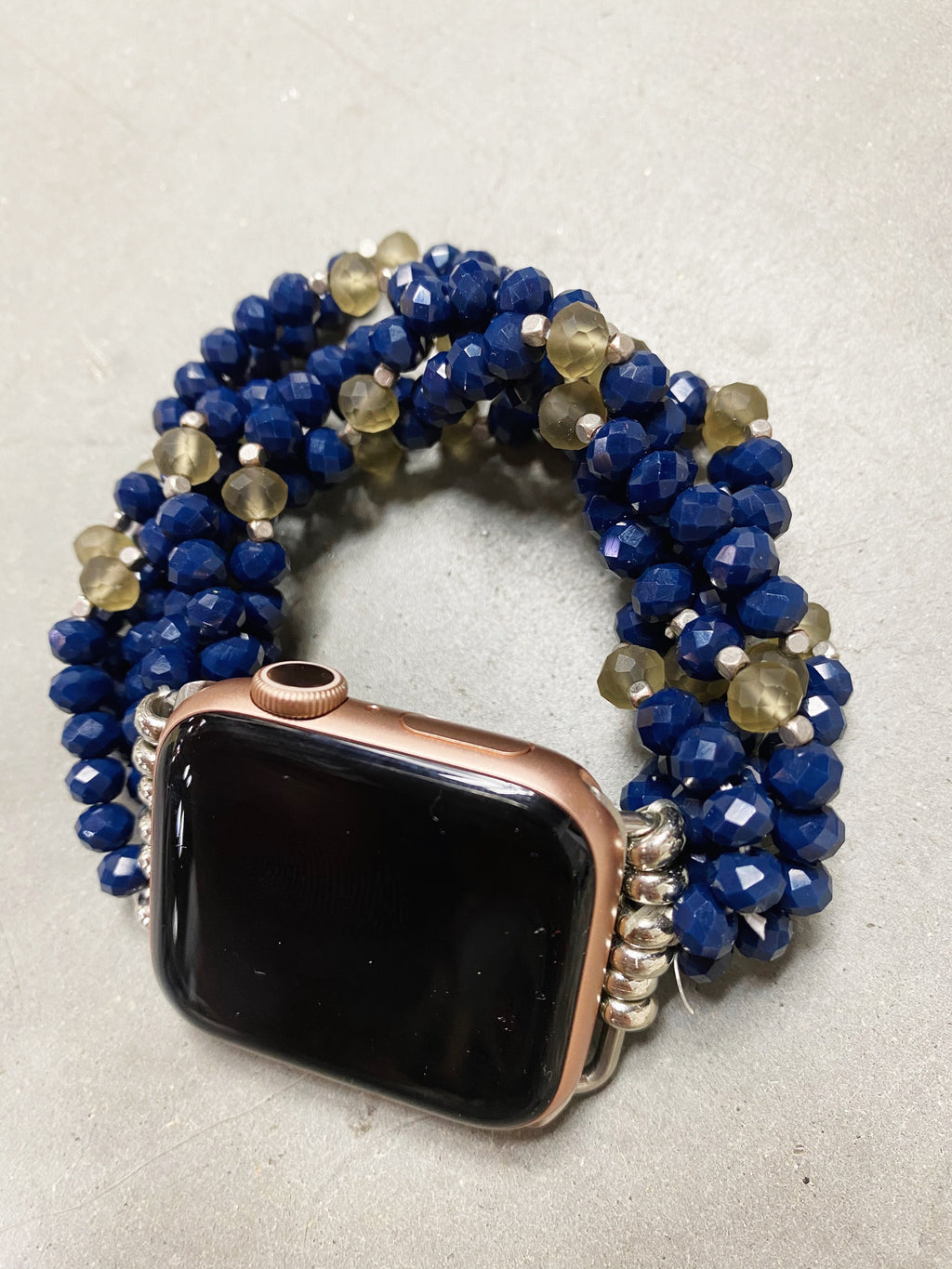 Lovely Day Beaded Apple Watch Band in Navy