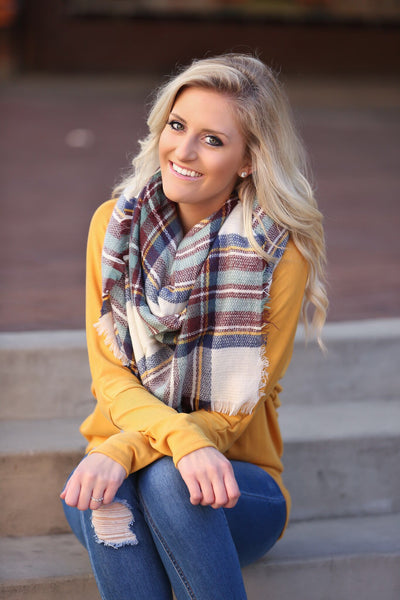 Plaid Blanket Scarf- Cream, Burgundy and Navy