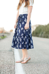 Fearless Patterned Navy Skirt