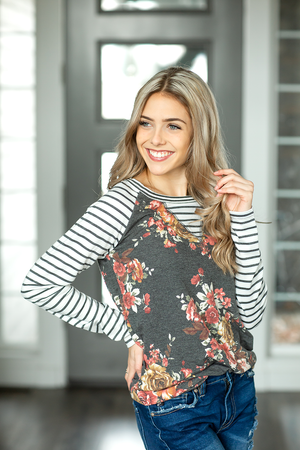 Hit Your Limit Top in Charcoal Floral