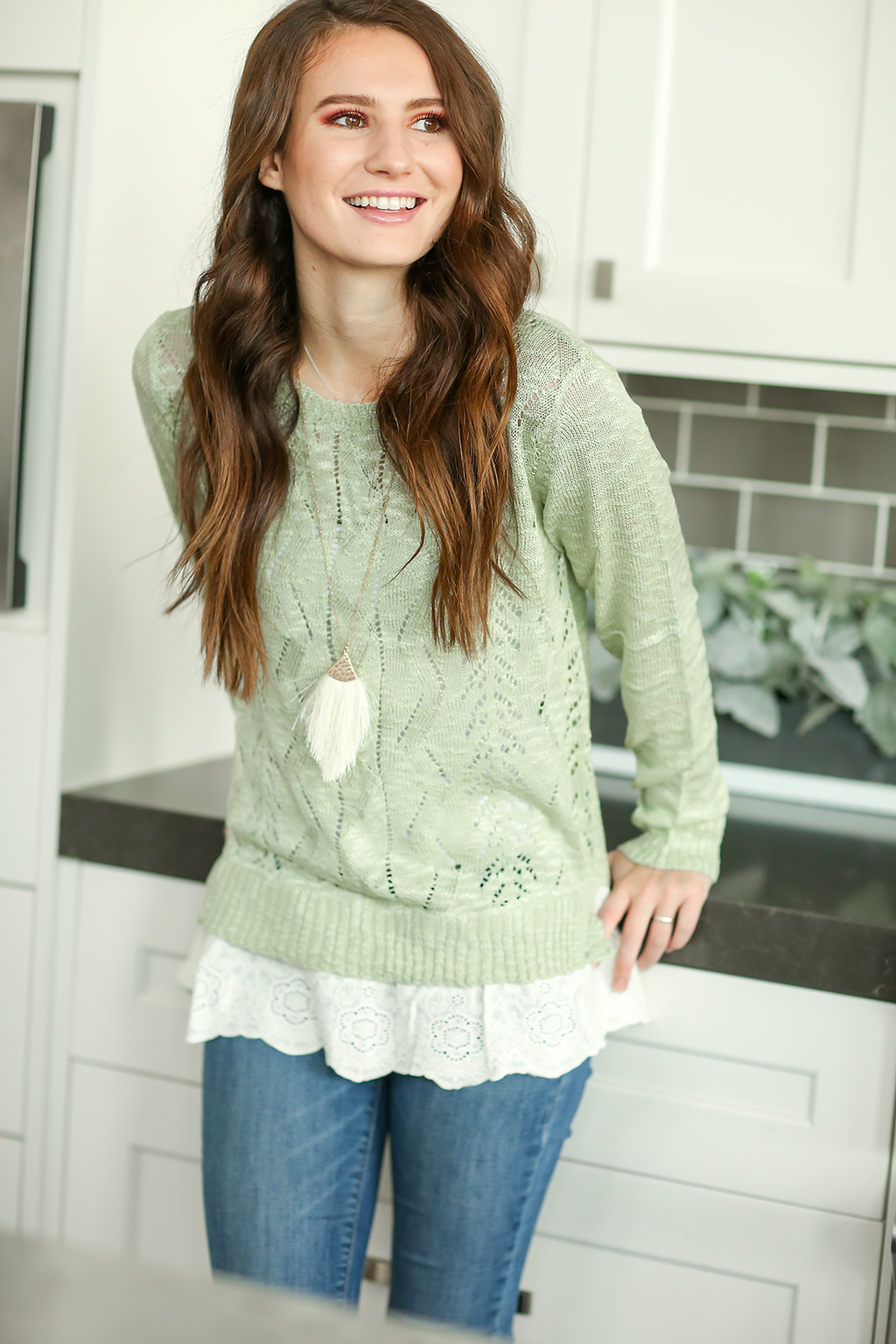 Sweater Weather Mint Sweater with Lace Detail