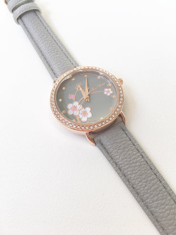 Gray Watch With Floral Detail