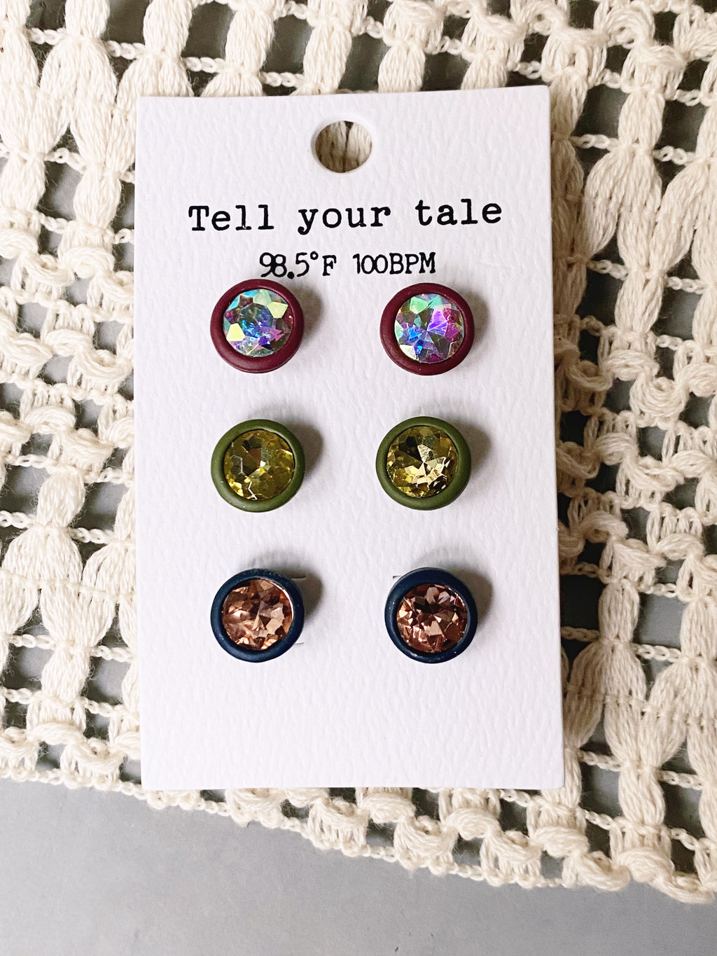 Burgundy, Olive, and Navy Sparkle Stud Earrings