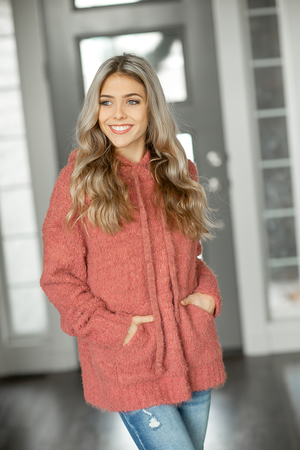 Double Fixing Sherpa Hoodie in Dusty Rose