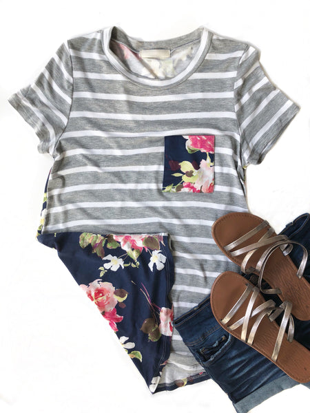 Less Is More Striped Floral Back Top in Gray