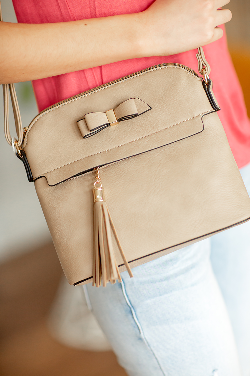Sweet Talk Hand Bag in Light Taupe
