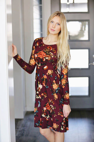 More Than Friends Floral Dress in Wine
