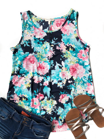 Last Chance Floral Tank In Navy, Mint and Pink (SALE)