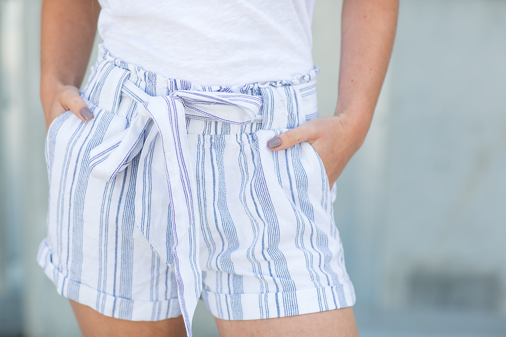 Sneak Peek Count Me In Paper Bag Shorts in Blue and White (SALE)