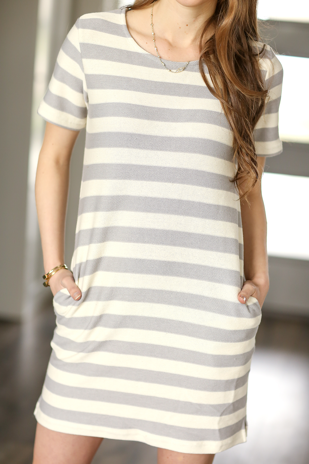Keep It Simple Short Sleeve Dress in Gray and White Stripes (SALE)