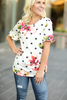 Enjoy The Party Floral and Polka Dot Bell Sleeve Top in Ivory (SALE)