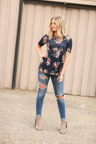 The Journey Floral Top in Navy