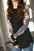 Remember Me Floral Sleeve Top in Black