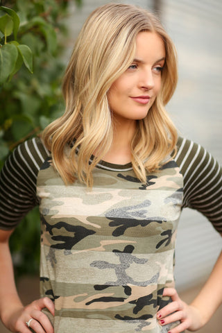 Put Up A Fight Camo Raglan Top