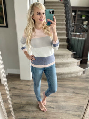 Slow and Steady Rush Striped Sweater in Blush