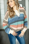 Faith in Me Striped Top in Mauve, Blue, and Ivory