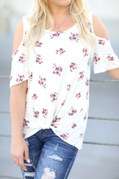 Take A Break Floral Cold Shoulder Top in White (SALE)