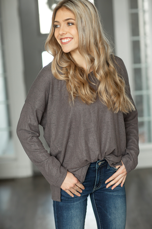 Mad About You Pullover Top in Charcoal