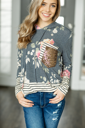 Jump in Line Navy Floral Hoodie with Sequin Pocket