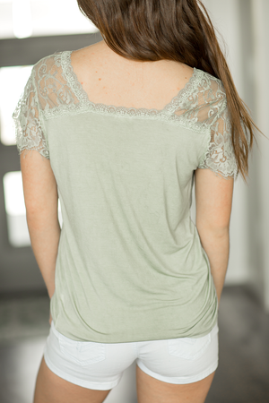 Always in Style Lace Sleeve Top in Desert Sage